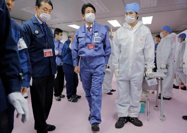 Prime Minister Shinzo Abe visits Fukushima