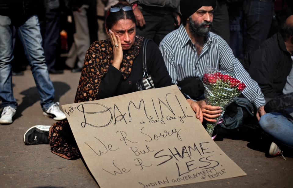 People attend a gathering to mourn the death of a rape victim in New Delhi, India, Saturday, Dec. 29, 2012. (AP / Altaf Qadri)