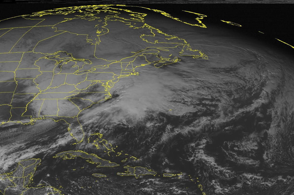 A frontal system moving from the southeastern United States up the eastern seaboard is shown in this NOAA satellite image taken Saturday, Dec. 29, 2012, at 01:45 PM EST. (Weather Underground)