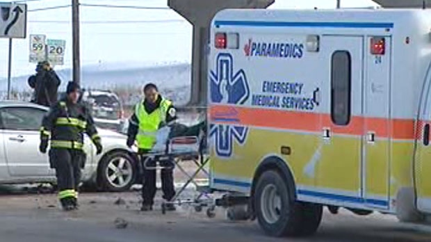 Two cars collided at Concordia Avenue and Lagimodiere Boulevard Saturday afternoon.