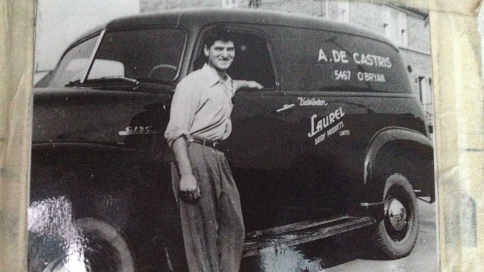 A photo dates from 1953, when Arnaldo de Castris was learning his milk route from his uncle.