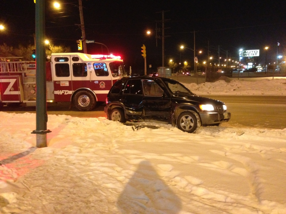 This car could be seen badly damaged after an accident at Kingsbury Avenue and McPhillips Street Saturday evening.