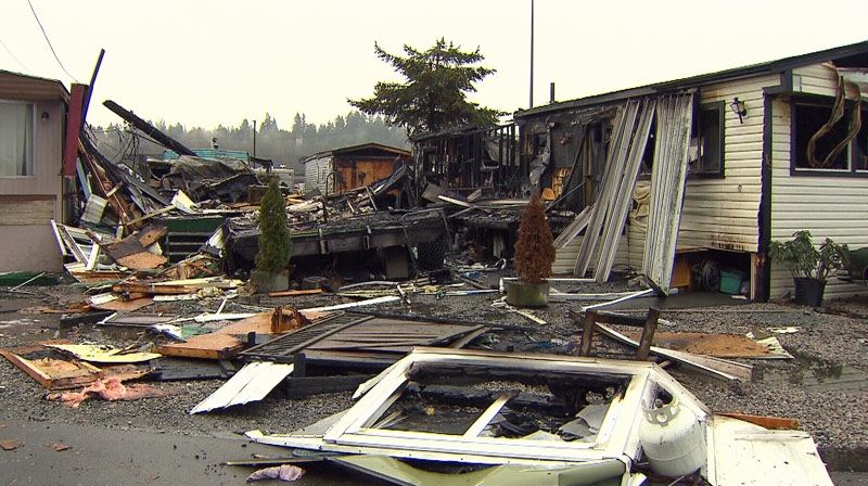 Police suspect an arsonist may be behind a fire that tore through a trailer park in Surrey on Friday night. December 29, 2012. (CTV)