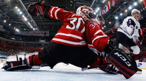 Team Canada goalie Malcolm Subban stops a puck shot by Team USA during third period IIHF World Junior Championships hockey action in Ufa, Russia, on Sunday, Dec. 30, 2012. (Mark Blinch / THE CANADIAN PRESS)