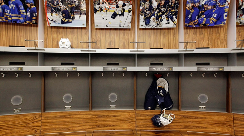 An empty locker room is shown during the NHL labor lockout at the First Niagara Center, home of the Buffalo Sabres hockey team, in Buffalo, N.Y., Sept. 25, 2012. (AP / David Duprey)