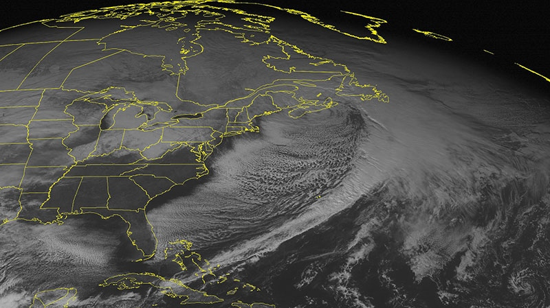The large frontal system that brought heavy snow to the northeastern United States is shown moving out to sea in this NOAA satellite image taken Sunday, Dec. 30, 2012 at 01:45 PM EST. (Weather Underground)