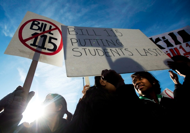 Students protest Bill 115