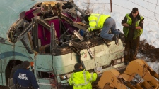Charter bus crashes
