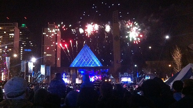 Organizers say the fireworks show at Churchill Square lasted seven minutes.
