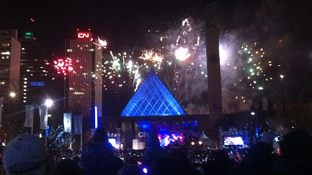 The City's fireworks show got underway just after midnight.