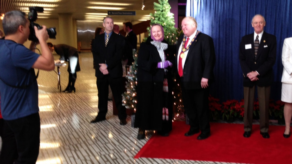 Toronto Mayor Rob Ford greets a member of the public at the annual New Year's levee on Tuesday, Jan. 1, 2013.