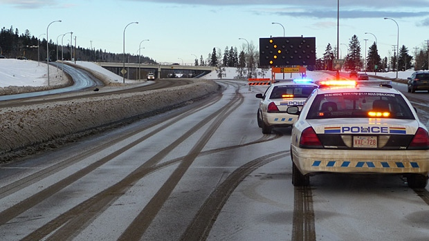 Traffic is being rerouted on Highway 63 in Fort McMurray after a hit and run damaged an overpass.  Photo Courtesy: RCMP