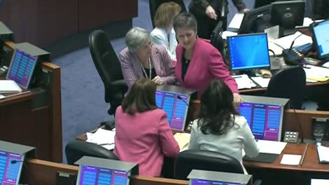 Coun. Janet Davis (Ward 31, Beaches-East York; facing camera) was one of about 10 councillors to wear pink on Wednesday, Dec. 8, 2010