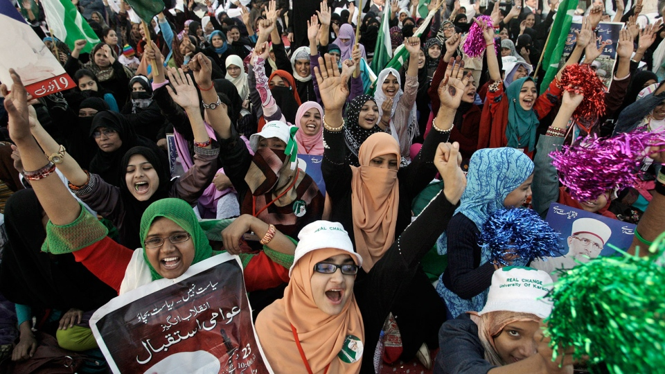 Pakistani supporters of the Muttahida Qaumi Movement, chant slogans during a rally in Karachi, Pakistan, Tuesday, Jan. 1, 2013. (AP / Shakil Adil)