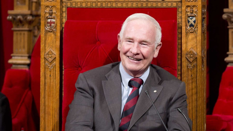 Governor General David Johnston smiles as he waits for the start of a ceremony in the Senate giving royal assent to government legislation, Friday, December 14, 2012 in Ottawa. THE CANADIAN PRESS/Adrian Wyld
