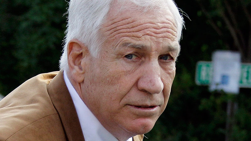 Former Penn State assistant football coach Jerry Sandusky arrives at the Centre County Courthouse in Bellefonte, Pa., June 22, 2012. (AP / Gene J. Puskar)