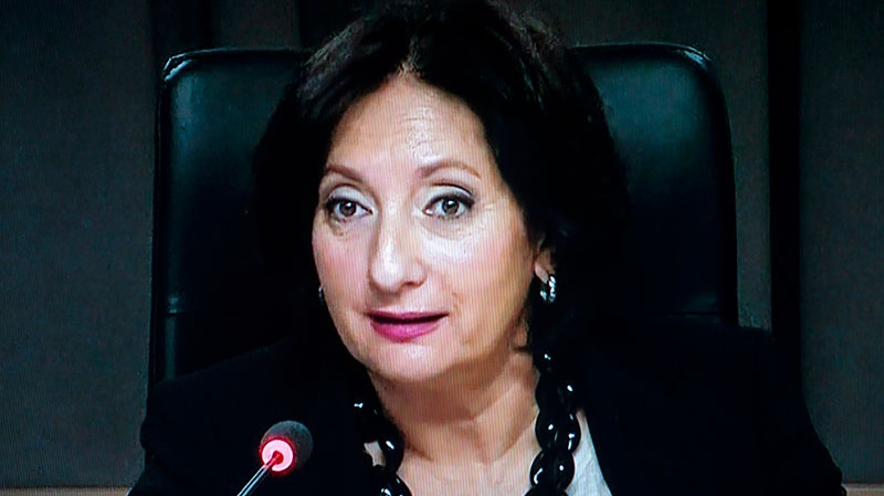 In this image taken from video, Justice France Charbonneau questions retired City of Montreal engineer Luc Leclerc testifies before the Charbonneau Commission looking into corruption in the Quebec construction industry, in Montreal, Monday, Nov. 12, 2012. (Paul Chiasson / THE CANADIAN PRESS)