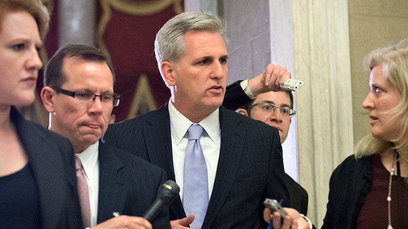 """U.S. House Majority Whip Kevin McCarthy, R-Calif., leaves after the House of Representatives held the final vote on emergency legislation to avoid a national """"fiscal cliff"""" of major tax increases and spending cuts, at the Capitol in Washington, Tuesday, Jan. 1, 2013. (AP / J. Scott Applewhite)"""