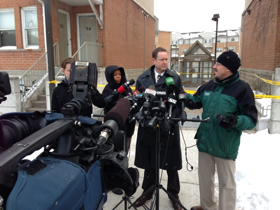 Acting Insp. Randy Cowan of Peel Regional Police shares information about a homicide in Mississauga on Jan. 1, 2013. (Natalie Johnson / CTV Toronto)
