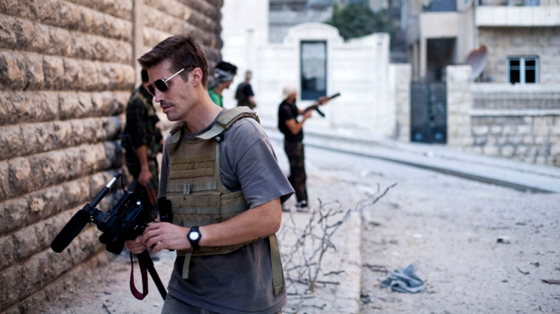 This photo posted on the website freejamesfoley.org shows journalist James Foley in Aleppo, Syria, in September, 2012. (AP / Manu Brabo, freejamesfoley.org)