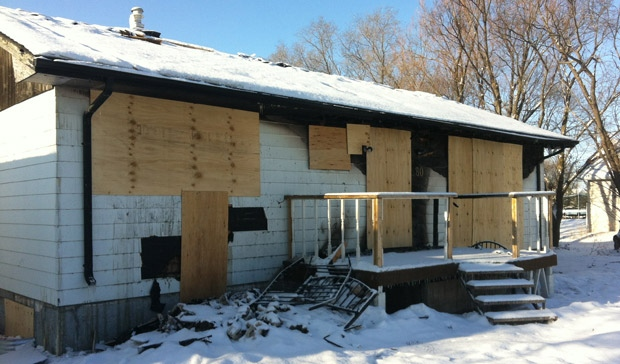 RCMP said damage to the home on Autumnwood Drive in Gimli, Man. is extensive following the Jan. 1, 2013 fire.
