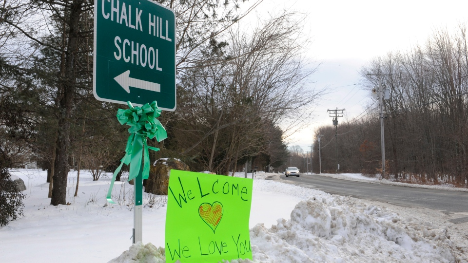 A sign for Chalk Hill School is seen in Monroe, Conn., Wednesday, Jan. 2, 2013. (AP / Jessica Hill)