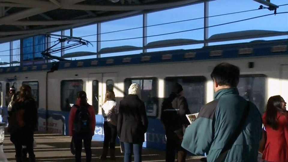 The train operator stopped at Clareview station to meet police and security after the brutal attack on Friday, Dec. 28, 2012.