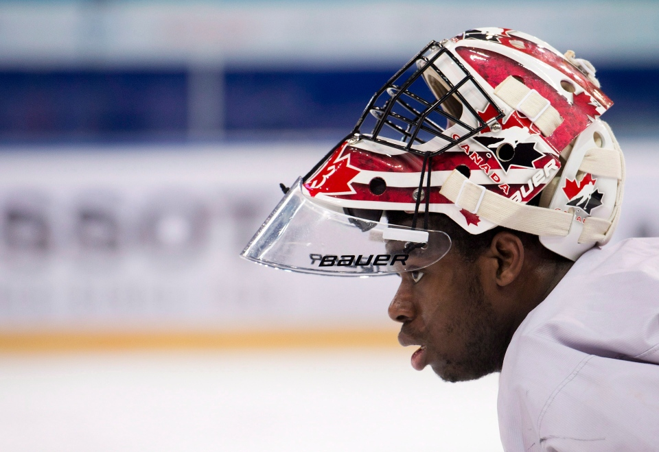 Team Canada goalie Malcolm Subban looks up ice during practice at the IIHF World Junior Championships in Ufa, Russia on Wednesday, Jan. 2, 2013. (Nathan Denette / THE CANADIAN PRESS)