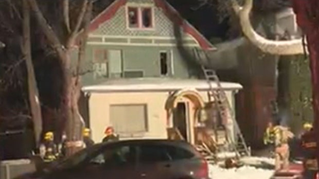Emergency crews worked to extinguish a blaze in the 200 block of Aubrey Street Thursday morning.