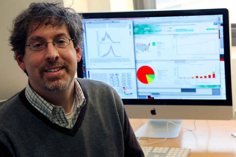 Jeffrey Shaman poses for a portrait in his office at Columbia University's Department of Environmental Health Sciences in New York, Thursday, Dec. 13, 2012. (AP / Mary Altaffer)