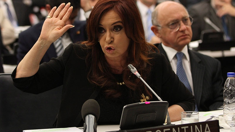 Argentine President Cristina Fernandez de Kirchner addresses a crowd at the United Nations headquarters, Thursday, June 14, 2012. (AP / Mary Altaffer)