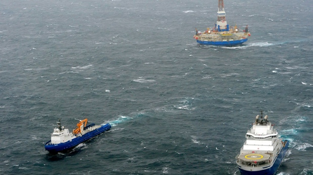 Grounded oil rig in Alaska