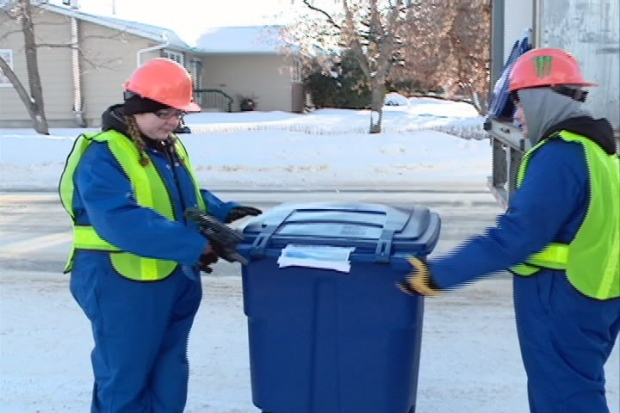 Blue bins for the city's residential recycling