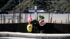 Memorial set up on roadside for paparazzo