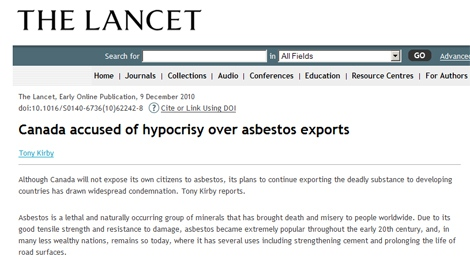 The Lancet: Canada accused of hypocrisy over asbestos exports