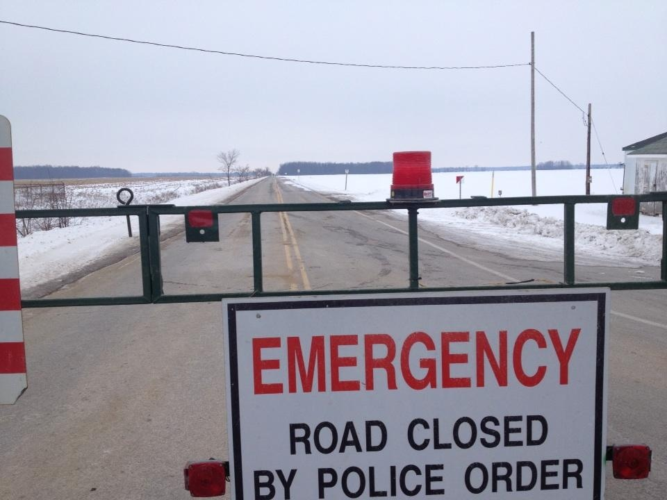 OPP at the scene of a sudden death investigation in a woodlot near Petrolia, Ont. on Thursday, Jan. 3, 2012. (Daryl Newcombe / CTV London)