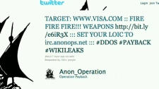 This screen grab shows the Twitter feed of Anon_Operation as hackers disrupted Visa's website on Wednesday, Dec. 8, 2010.