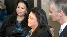 Debbie Maloney, left, and her sister Denise Maloney, daughters of Annie Mae Aquash, talk to the media on Friday, Dec. 10, 2010 after John Graham was found guilty in 7th Circuit Court in Rapid City, SD, of felony murder involving a kidnapping in connection with the 1975 slaying of their mother. At right is South Dakota Attorney General Marty Jackley. Graham was found not guilty of premeditated murder. (AP / Steve McEnroe)