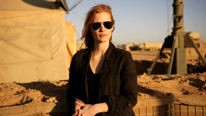 "This undated publicity film image provided by Columbia Pictures Industries, Inc. shows Jessica Chastain playing a member of the elite team of spies and military operatives stationed in a covert base overseas who secretly devoted themselves to finding Osama Bin Laden in Columbia Pictures' new thriller directed by Kathryn Bigelow, ""Zero Dark Thirty."" (AP / Columbia Pictures Industries, Inc., Jonathan Olley, File)"