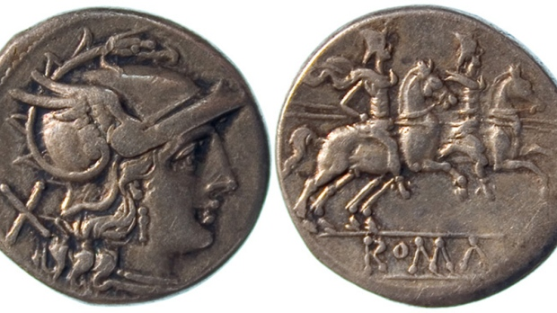 A Roman Denarius, one of the coins analyzed by researchers at McMaster University.