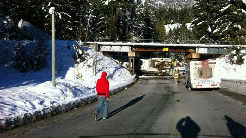 A train derailed just outside of Pemberton, shutting down Highway 99 in both directions. Jan. 3, 2013. (Twitter/@arvonoons)