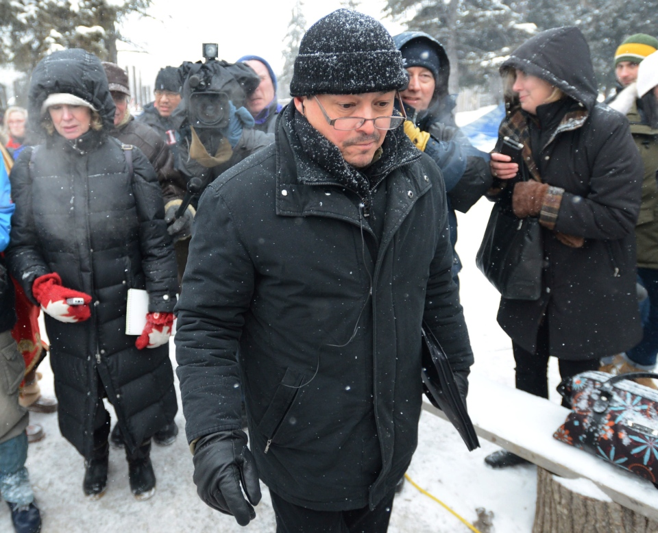 National Chief of the Assembly of First Nations Shawn Atleo brushes off questions from reporters as he makes his way to a meeting with Attawapiskat Chief Theresa Spence on Victoria Island in Ottawa on Thursday, Jan. 3, 2013. (Sean Kilpatrick / THE CANADIAN PRESS)