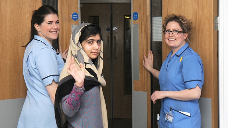 Malala Yousufzai says goodbye as she is discharged from the hospital to continue her rehabilitation at her family's temporary home nearby, in Birmingham, England, Friday, Jan. 4, 2013. (Queen Elizabeth Hospital)