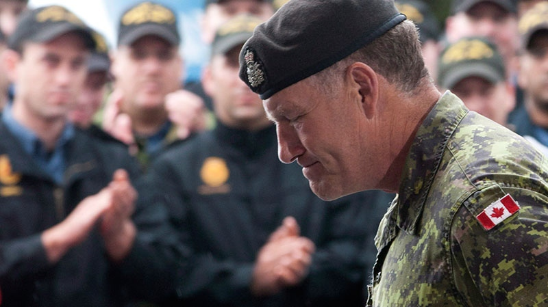 Canadian Forces Chief of Defence Staff Walt Natynczyk leaves the podium after speaking to troops on HMCS St. John's taking part in Operation Nanook in Churchill, Man., Friday, August 24, 2012. (Adrian Wyld / THE CANADIAN PRESS)