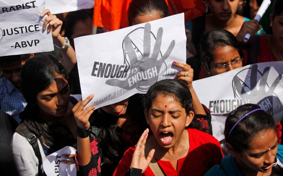An Indian student shouts slogans seeking punishment for rapists of the 23-year-old student, during a protest in Bangalore, India, Friday, Jan. 4, 2013.  (AP / Aijaz Rahi)