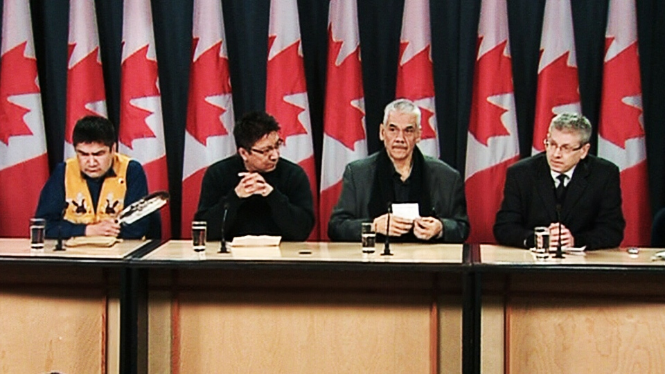 From right to left, NDP MP Charlie Angus, Grand Chief Stan Louttit, Deputy Grand Chief Alvin Fiddler and a representative of Theresa Spence hold a press conference in Ottawa on Friday, Jan. 4, 2012.