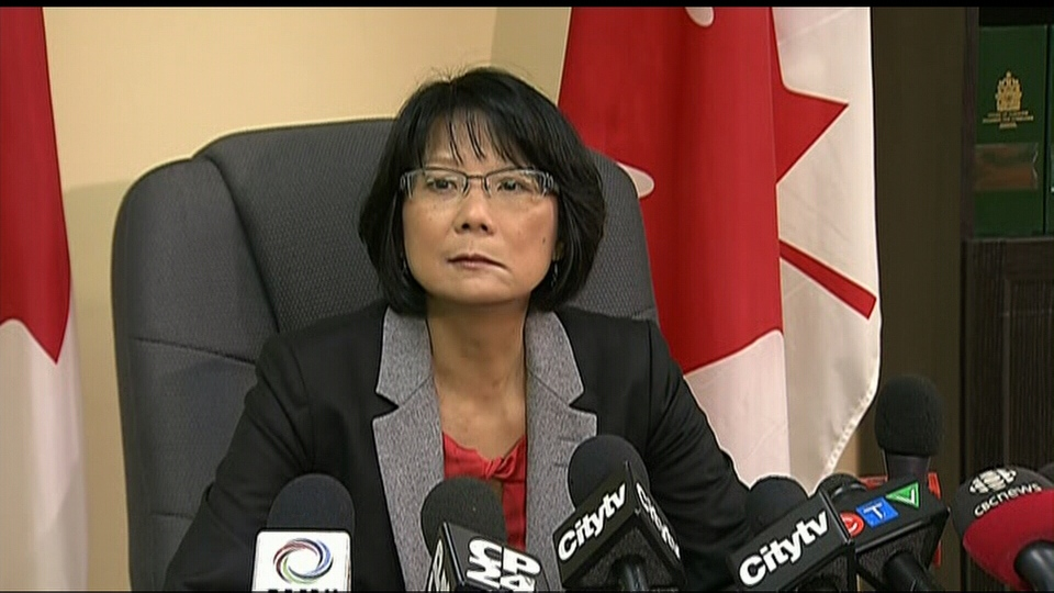 NDP MP Olivia Chow speaks about her Ramsay Hunt syndrome diagnosis at a press conference in Toronto on Friday, Jan. 4, 2013.