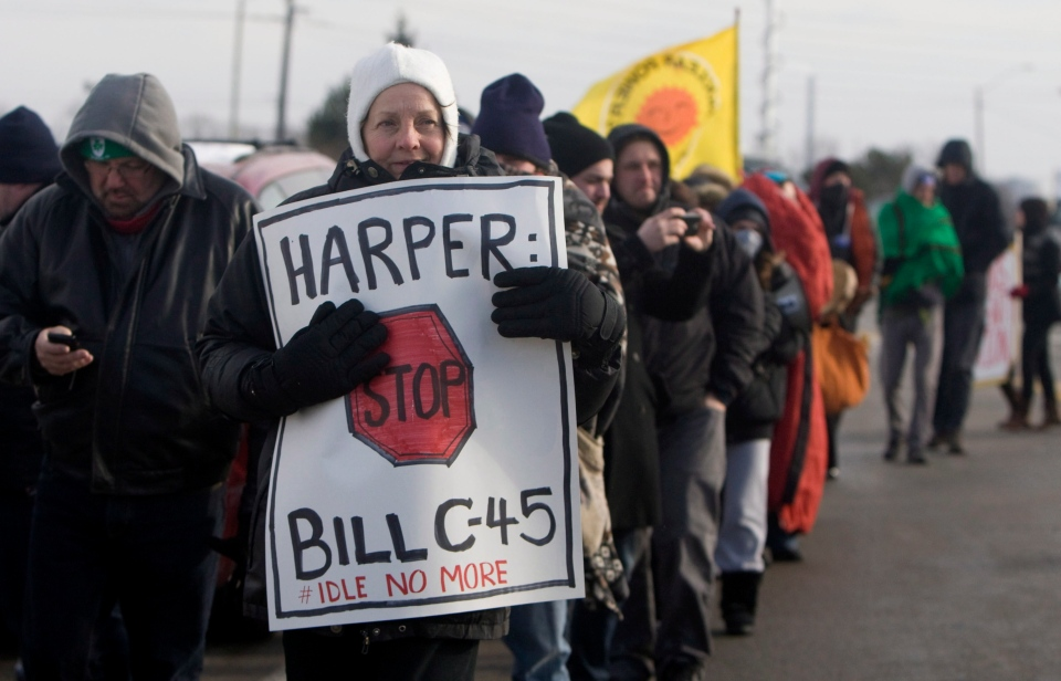 Idle No More activists protest outside of the Ford plant in Oakville, Ont., on Friday, Jan. 4, 2013. (Matthew Sherwood / THE CANADIAN PRESS)