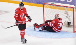 Team Canada's Mark Scheifele skates past goaltender Malcolm Subban following the winning goal by Russia's Valeri Nichushkin during overtime bronze medal hockey action at the IIHF World Junior Championships in Ufa, Russia, on Saturday, Jan. 5, 2013. Russia beat Canada 6-5 to win the bronze medal. (Nathan Denette / THE CANADIAN PRESS)