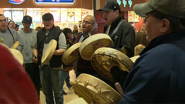 A flashmob round dance was held in the food court at the Kingsway Garden Mall on Saturday in support of the Idle No More movement.